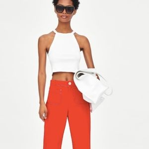 Zara White Halter Neck Crop Top S